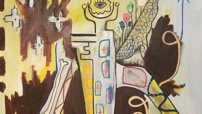 """""""Conversations"""" is the title of this mixed media painting that will be part of an exhibit to open Jan. 20 at Inspiration Studios in West Allis."""