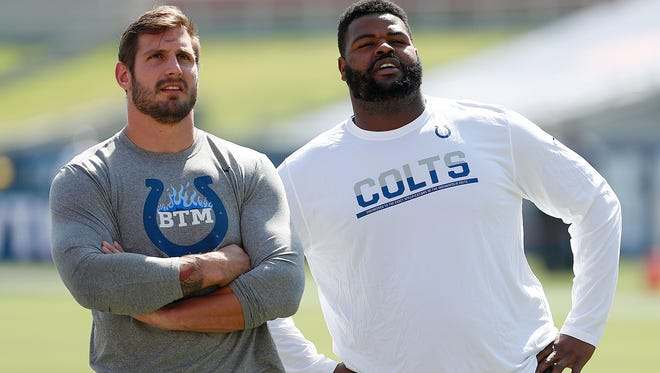 Two of the better defensive players for the Colts in 2017, John Simon (left) and Jon Hankins, have both been casualties of the scheme change.