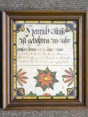 Translated, this fraktur, or birth certificate, reads: Henrich Blasser, son of Mathaus Blasser & wife. Elisabeda born 5 June 1809 baptized by Pastor Wagner in York.