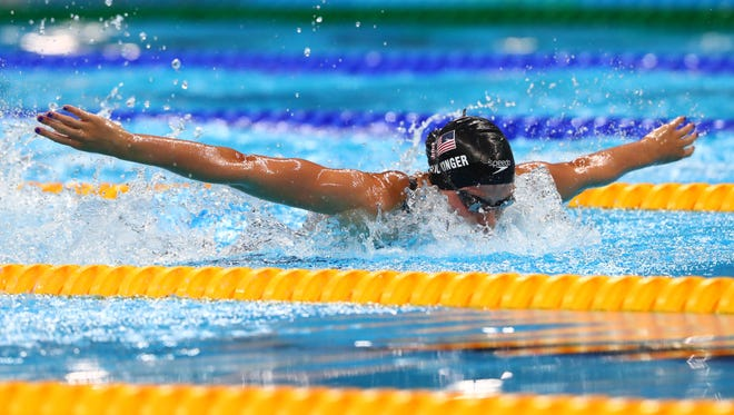 Hali Flickinger of Spring Grove competes during a women's 200-meter butterfly semifinal Tuesday in the Rio 2016 Summer Olympic Games at Olympic Aquatics Stadium.