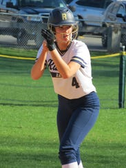 Gabby Marchisin, about to take a lead off second base, is among seven seniors on the Ramsey softball team.