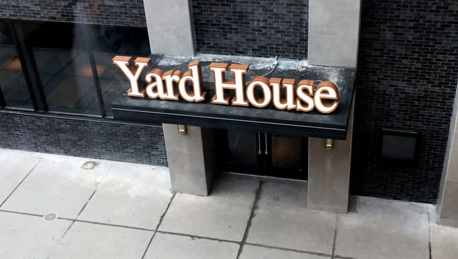 Signage is up for Yard House, a restaurant opening in Downtown Indianapolis on March 15.