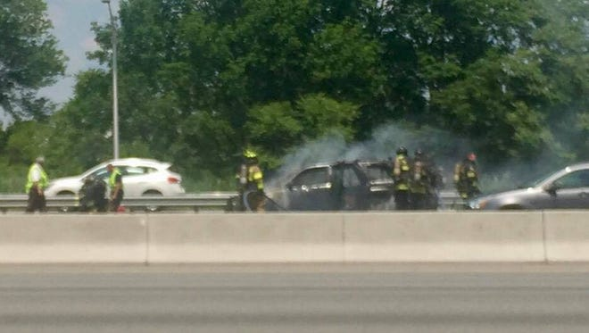 A vehicle fire is tying up traffic on Route 80 and 280 westbound Tuesday in Parsippany