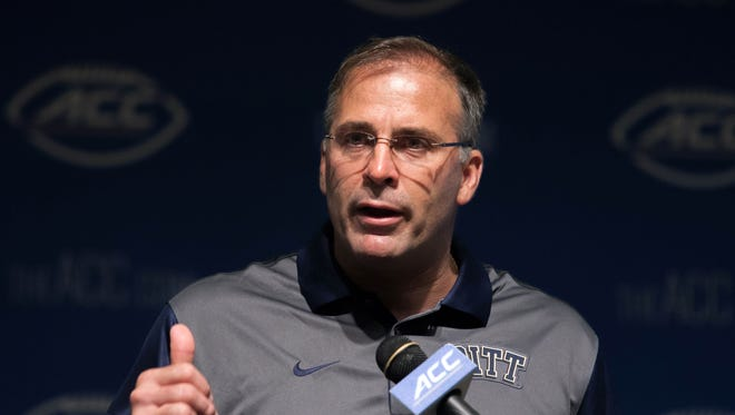 Jul 21, 2015; Pittsburgh Panthers head coach Pat Narduzzi speaks with the media during the ACC football kickoff at Pinehurst Resort.
