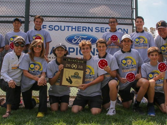 The Ventura High boys tennis team poses with its championship
