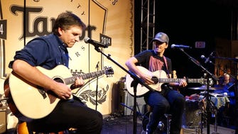"Jamming with singer/songwriter Jason Mraz on his signature hit ""I'm Yours"" at the NAMM show in Anaheim."