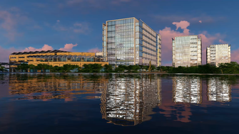 A rendering shows proposed Tempe biotech campus at southwest corner of Tempe Town Lake.