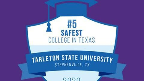 Tarleton State University ranks No. 5 in the top 10 safest college campuses in the state as based on a survey by the National Council for Home Safety and Security.