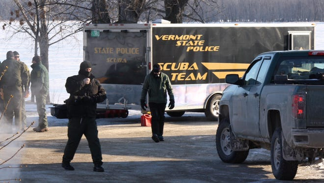 The Vermont State Police Scuba Team, seen here last month during a search on Lake Champlain, has been activated to seek a missing snowmobiler on Ricker Pond in Groton on Saturday, March 5, 2016..