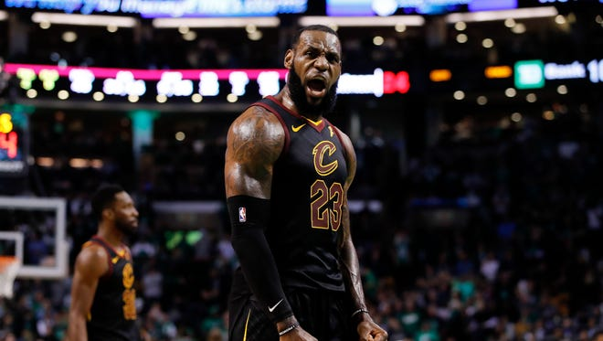 May 27, 2018: Cleveland Cavaliers forward LeBron James (23) celebrates after drawing foul against the Boston Celtics during the fourth quarter in game seven of the Eastern conference finals of the 2018 NBA Playoffs at TD Garden.