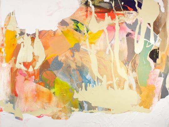 "Georganna Greene, ""Shelter,"" 2017, acrylic, spray paint,"