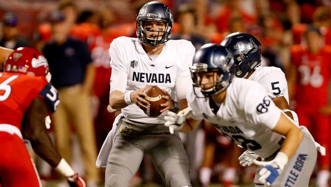 Ty Gangi looks to pass the ball against Fresno State last Saturday. He'll start at quarterback again for Nevada this week.