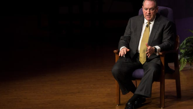 Mike Huckabee speaks about his faith during the Bonita Christian Forum at the First Presbyterian Church of Bonita Springs on Tuesday, Jan. 30, 2018.