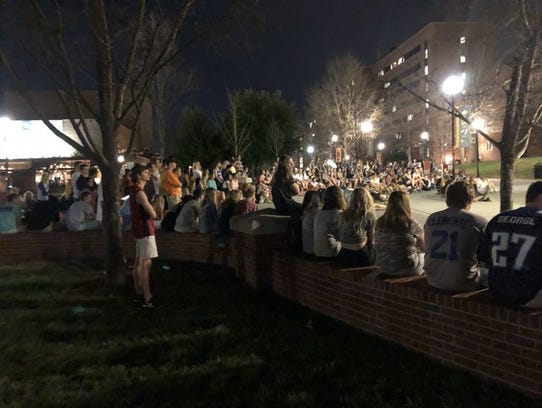 Students gather on Pedestrian Walkway to pray for Tanner