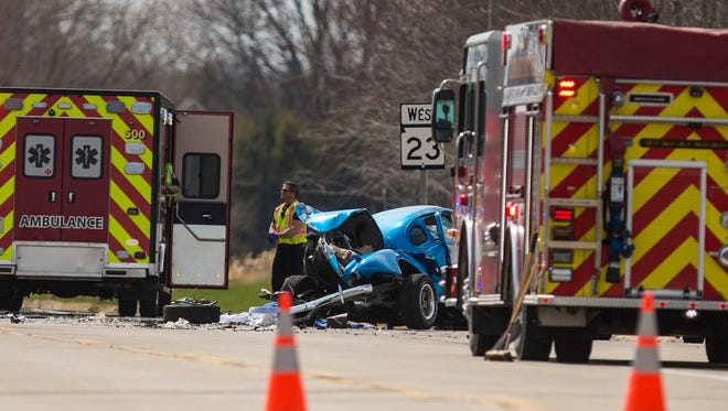 Emergency personel work the scene of a crash Monday, April 30, 2018 at the intersection of State Highway 23 and County Road C, south of Eldorado. Doug Raflik/USA TODAY NETWORK-Wisconsin