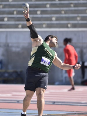 CSU's Mostafa Hassan, shown winning the Mountain West title last weekend, is seeded fourth in the men's shot put among qualifiers for the NCAA West Preliminary track and field meet May 26-28 in Lawrence, Kan. Top performers there will move on to the NCAA Outdoor Championships June 8-11 in Eugene, Ore.