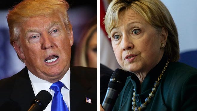 """In Wisconsin polling 56 percent of voters said they were """"very uncomfortable"""" with GOP presidential contender Donald Trump (left) as president, compared with 42 percent for Democrat Hillary Clinton (right)."""