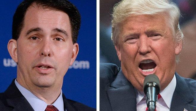 Wisconsin Gov. Scott Walker (left) says he will speak at the Republican National Convention in Cleveland, where Donald Trump (right) is expected to become the party's presidential nominee.