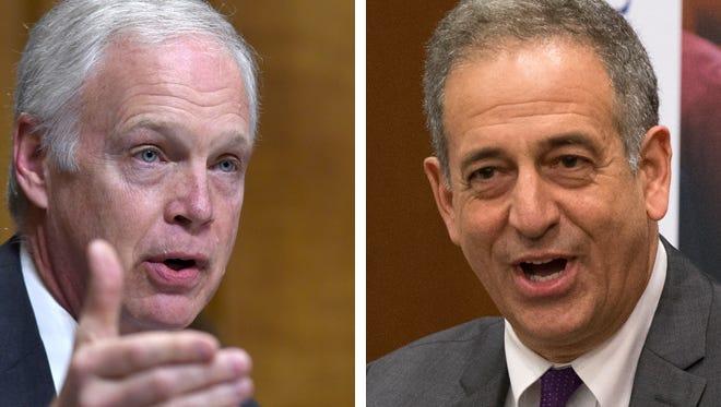 U.S. Sen. Ron Johnson (left), a Republican, faces an election challenge from former U.S. Sen. Russ Feingold (lright).