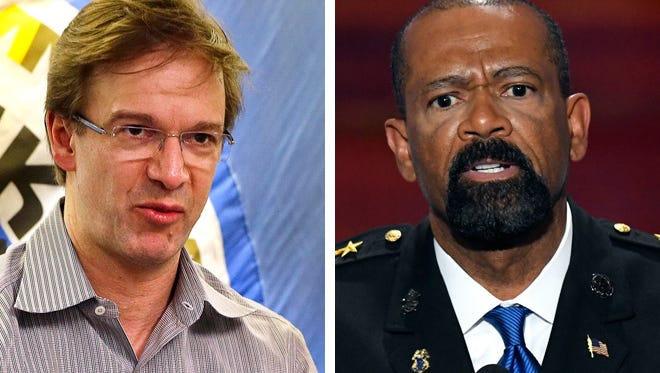 Milwaukee County Executive Chris Abele (left) and Sheriff David A. Clarke Jr. (right).