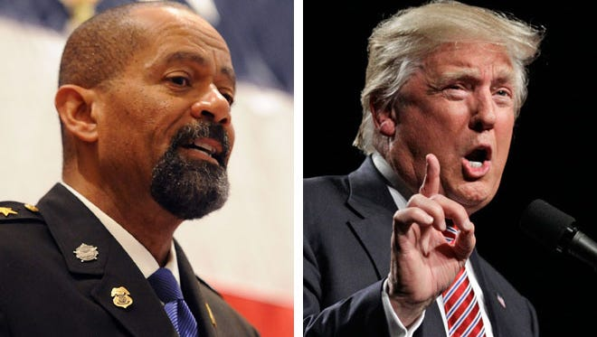 Milwaukee County Sheriff David A. Clarke Jr. (left) is a strong supporter of Republican presidential nominee Donald Trump.