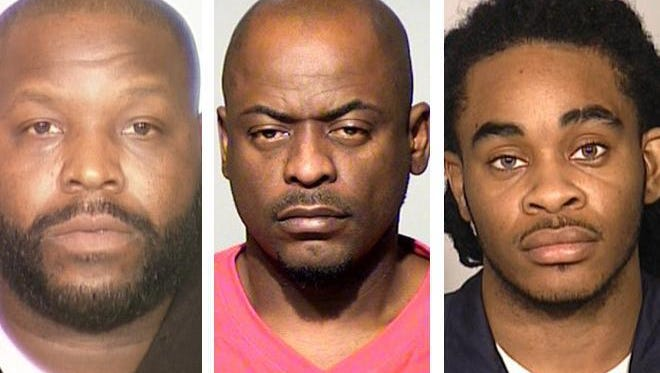 Paul Carter (left), David Moore (center) and his son Najee Moore (right) are accused of engaging in sex trafficking.
