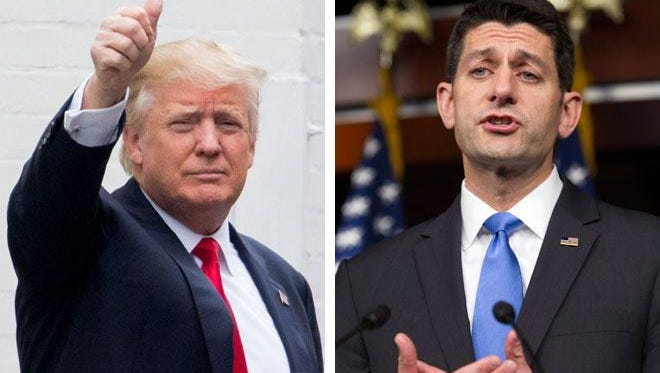 Republican presidential candidate Donald Trump (left) arrives for a meeting with House Speaker Paul Ryan. Ryan (right) speaks to reporters on Capitol Hill after the meeting. May 12, 2016 Associated Press