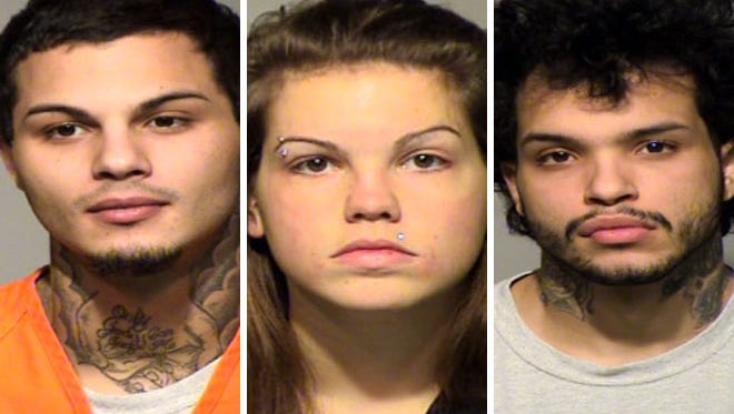 Devin Katzfey (left), Sarah Zakzesky (center) and Brendan Katzfey (right) are charged in a beating death recorded on the victim's Snapchat account.