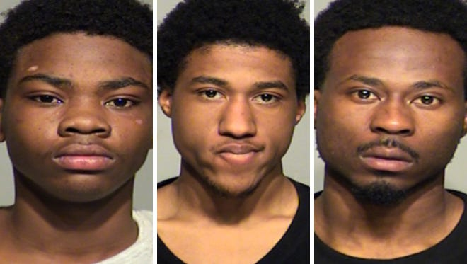 """Qhualun D. Shaw (left), Deshaun K. Scott (center) and Eric J. Smiley Jr. (right) face charges in the killing of Milwaukee city inspector Greg """"Ziggy"""" Zyszkiewicz."""