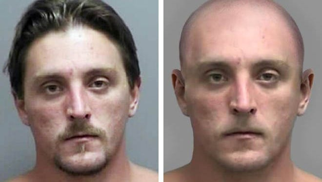 The FBI released an enhanced image (right) of what Joseph Jakubowski (left) would look bald in the belief that the fugitive may have altered his appearance.