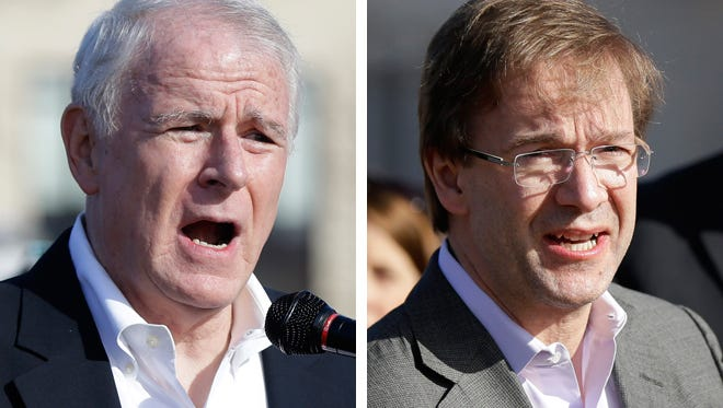 Milwaukee Mayor Tom Barrett (left) and County Executive Chris Abele (right).