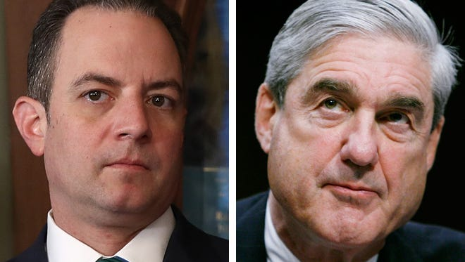 Reince Priebus, former White House chief of staff, (left) and special counsel Robert Mueller (right)