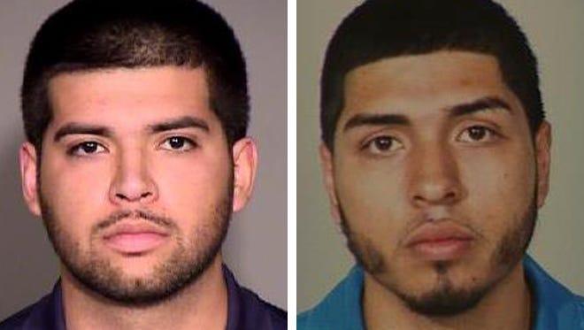 Jose R. Cadena-Sanchez (left) and Omar Estrada (right) are wanted for homicide.