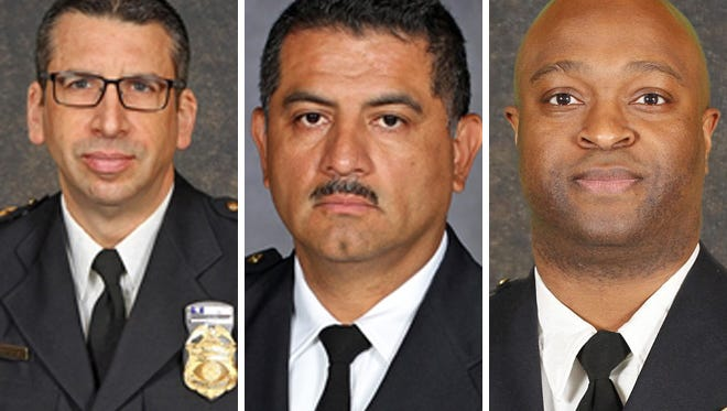 The finalists for interim Milwaukee Police chief are Assistant Chief James Harpole (from left), Capt. Alfonso Morales and Inspector Michael Brunson.