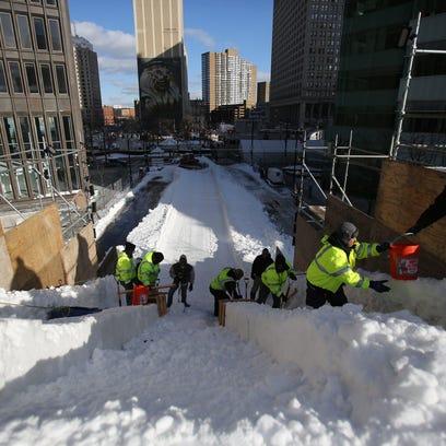 Workers prepare for the 2016 Meridian Winter Blast