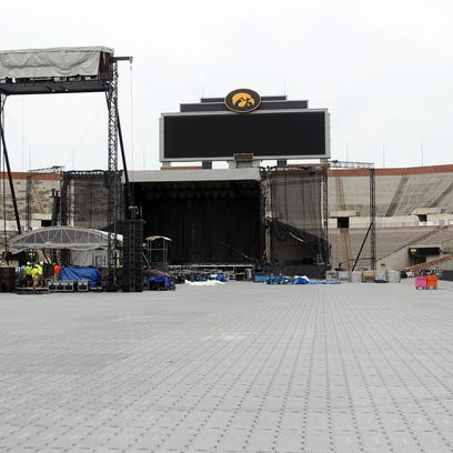 Work continues on the Back Porch Revival stage at Kinnick