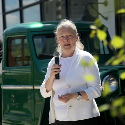 Sue Mosey, president of Midtown Detroit, Inc., speaks