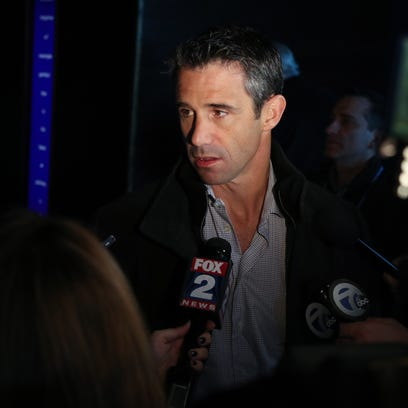 Tigers Manager Brad Ausmus talks with reporters at