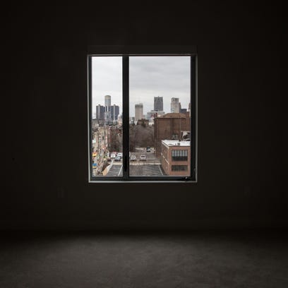 A view of a two-bedroom two-bathroom apartment at The