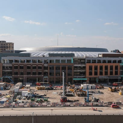 A view of the Little Caesars Arena in downtown Detroit