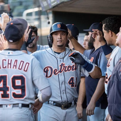 Tigers designated hitter Victor Martinez (41) reacts