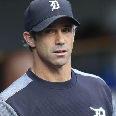 Tigers manager Brad Ausmus in the dugout during the