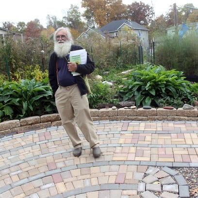 Blair Frank stands on the labyrinth Friday at Gaia's Peace Garden. The garden is privately owned but open to the public to enjoy.