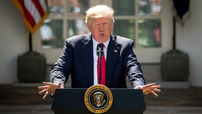 President Donald Trump speaking Thursday, June 1, 2017, in the Rose Garden of the White House in Washington.
