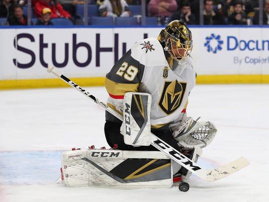 Vegas Golden Knights goaltender Marc-Andre Fleury makes