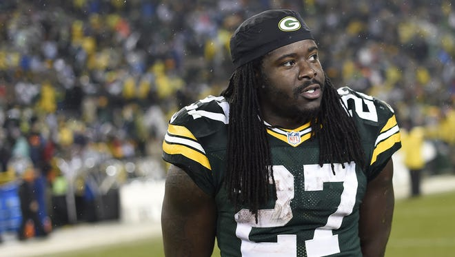 Green Bay Packers running back Eddie Lacy stands on the field after a December 2015 game against the Dallas Cowboys at Lambeau Field.