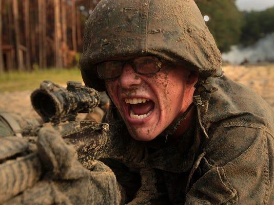 Photo Gallery: Marine recruits maneuver through combat training course on Parris Island