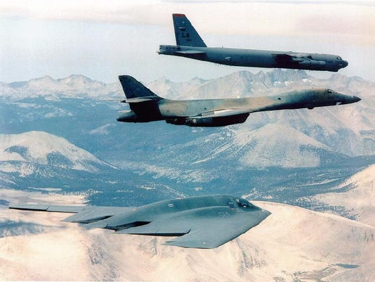 B-2, B-1 and B-52 in flight