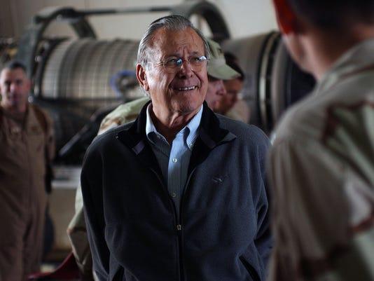 Rumsfeld Visits Troops on Farewell Visit