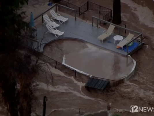 Flood Damaged Swimming Pool : Powerful footage of flooding in wickenburg